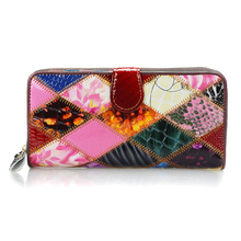 Large Women Wallet Bag Long Genuine Leathe Purse Rainbow Colorful Card Holder Patchwork Style Lady Phone Coin Bags