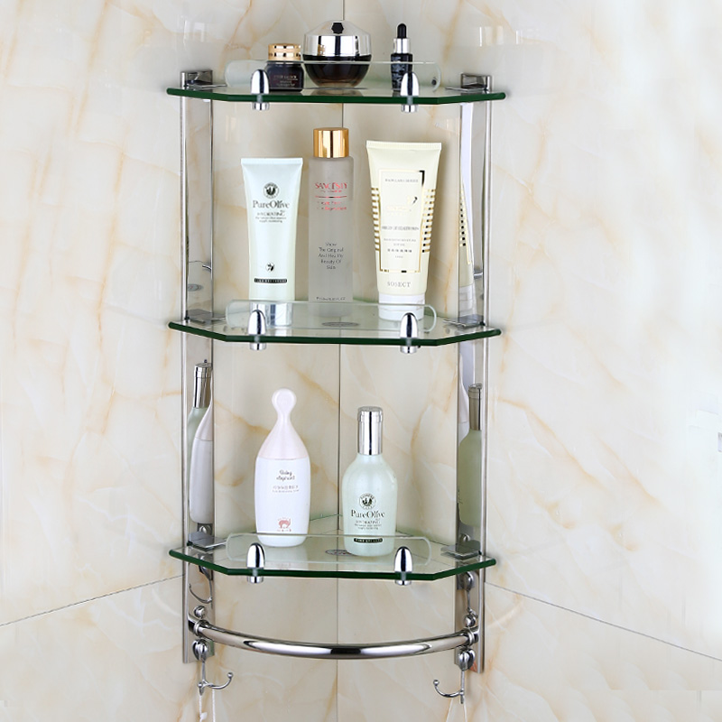 Modern Bathroom Glass Corner Shelf 2 3 Layer Wall Mounted Shelf Stainless Steel Toilet Tripod Corner Frame Bathroom Accessories Bathroom Shelves Aliexpress