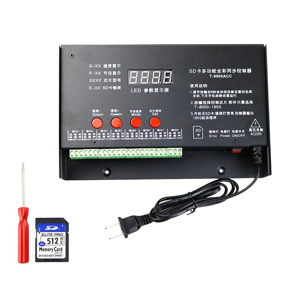 DC5V LED de contrôle AC110V 220V SD Carte Contrôleur De Pixel 8192 Pixels T8000 T-8000A Pour WS2801 WS2812B WS2812 RBG LED Bande JQ