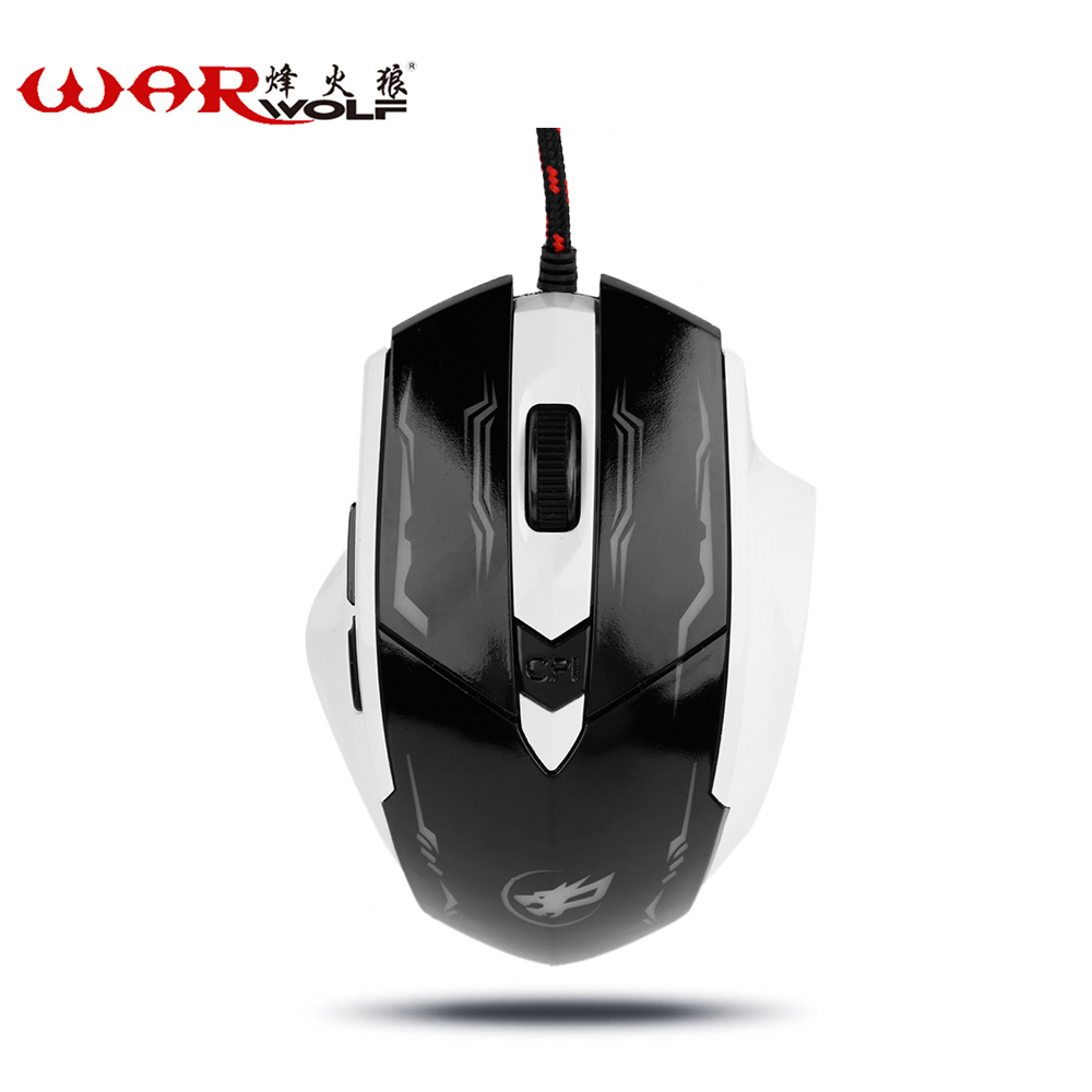 WarWolf USB Wired Mouse LED 2400DPI Computer Gaming Mouse Optical 6 Buttons Game Mouse Mice for PC Gamer For LOL