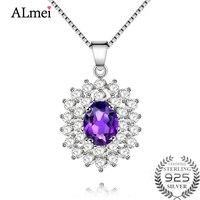 Almei Certified 0 8CT 925 Sterling Silver Natural Amethyst Gemstone Pendant Women Best Friends Necklace Diamond
