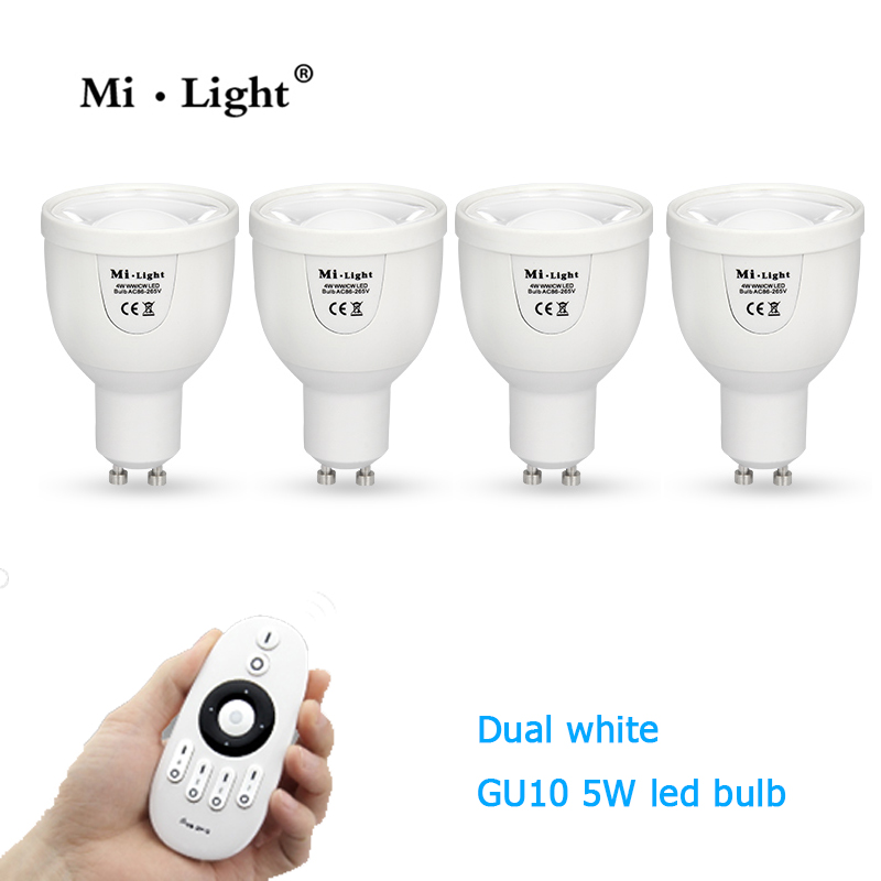 Milight WIFI 5W GU10 spotlight CT dural white CCT dimmable wireless 2.4G led lamp 110V 220V 5W LED Bulb control by remote milight 5w gu10 dual color temperature led bulb spotlight without remote