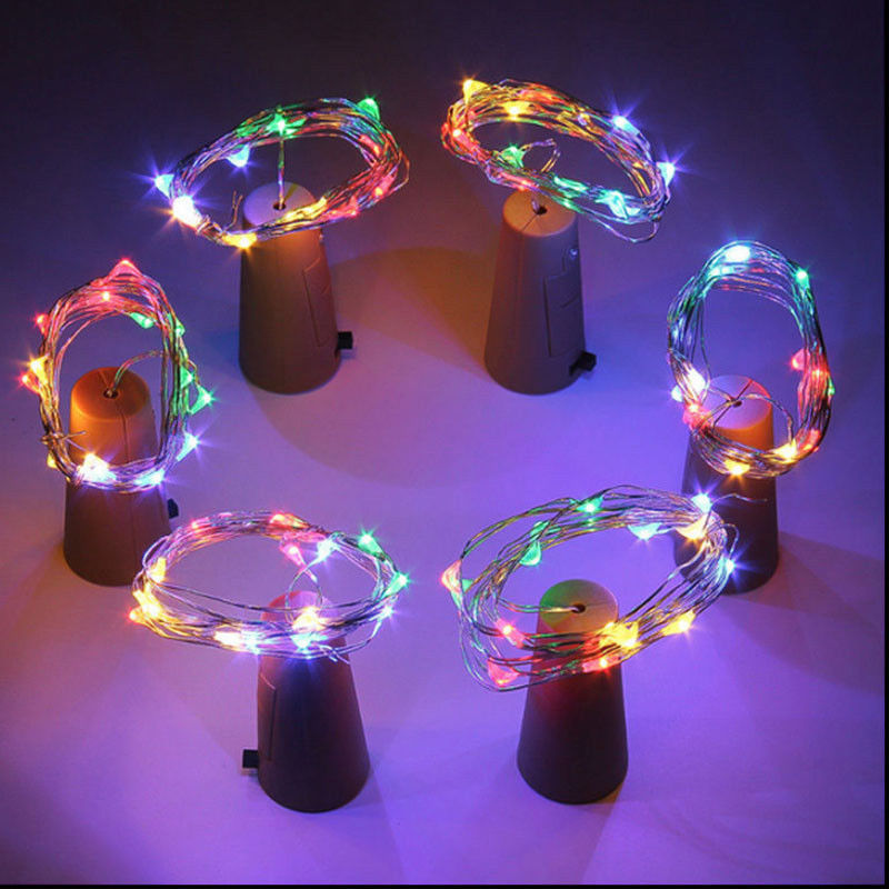 1 lot 9 pcs 9 colors Wine Bottle Lights Silver Wire String Light Batteries For Wedding Decoration Christmas decoration light