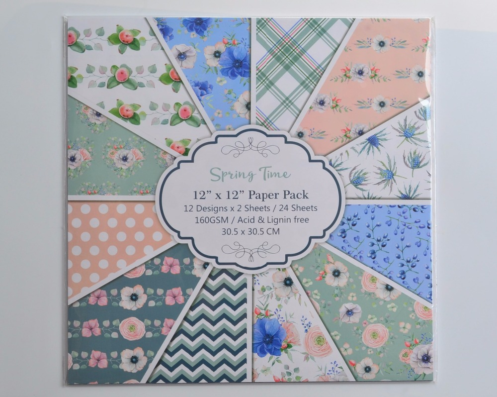 DIY Album Photo Scrapbooking set Spring Time Decorative Papers Craft paper  12inch X 12 inch  Single Side Printed 24 pcs/Set