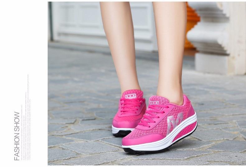 Sport & Unterhaltung Frauen Körper Gestaltung Schaukel Toing Schuhe Mesh Atmungsaktive Lace-up Frauen Schuhe Weibliche Freizeit Höhe Zunehmende Fitness Schuhe Aa60009