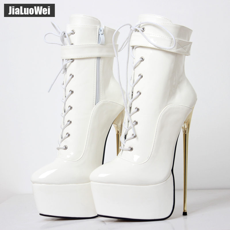 jialuowei Fetish High Heel Platform Boots Women Sexy 22cm High Gold Thin Heels Fetish Nightclub Party Dance Ankle Boots Plus Siz