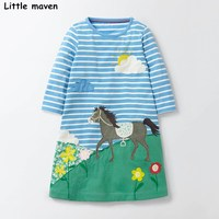 Little maven kids dresses for girls 2017 autumn new baby girls clothes grass flower clouds print horse cloth dress S0269