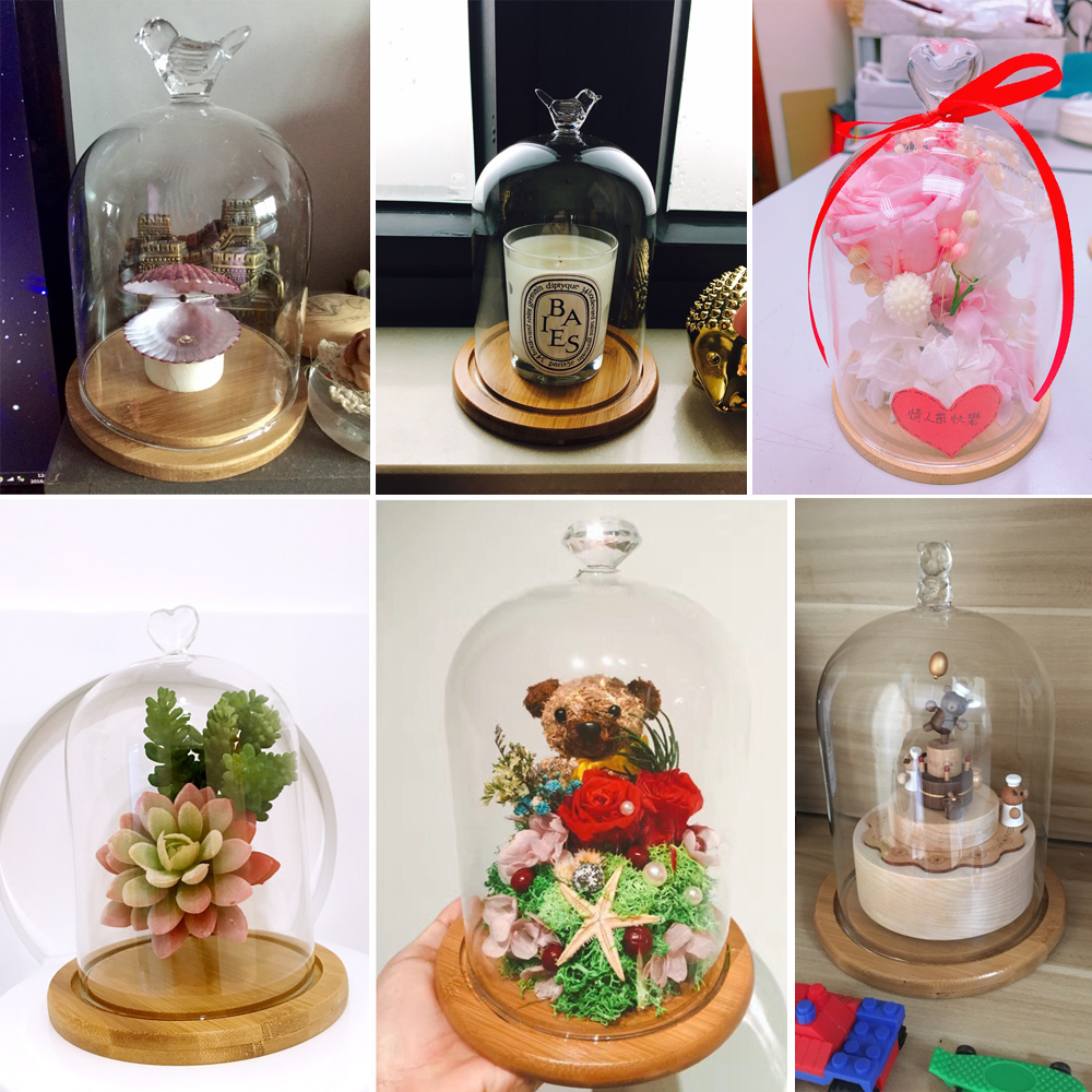 12pcs Glass Doll Dome With Bamboo Base For Wedding Party
