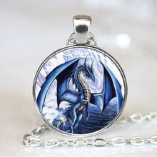 (1 Piece/Lot) Blue Dragon pendant charm, Dragon necklace pendant, Dragon Photo necklace charm