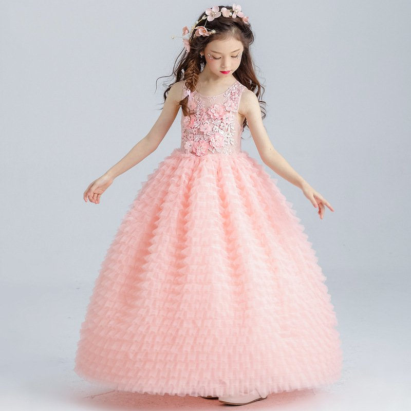 ФОТО New Summer Pink Princess Wedding Party Dresses For Girl Flower Sequined Tutu style Wedding Party Costumes  Layered Dress