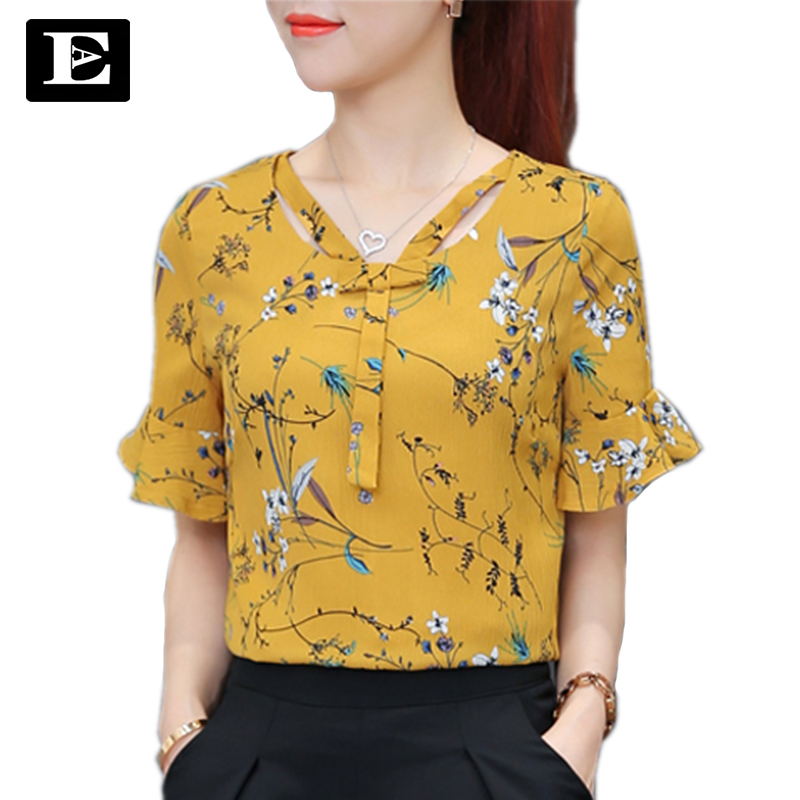 EvelingAsky Store EveingAsky 2017 Women's Summer Tops Chiffon Blouses And Shirts Ladies Flower Prints Women's Blouse With Blusas Femme tops 1729#