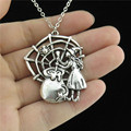 """Q1074 10-4 Free Shipping Silver Alloy Girls Women Jewelry Cartoon Poisonous Spider Witch Pendant Short Chain Collar Necklace 18"""""""