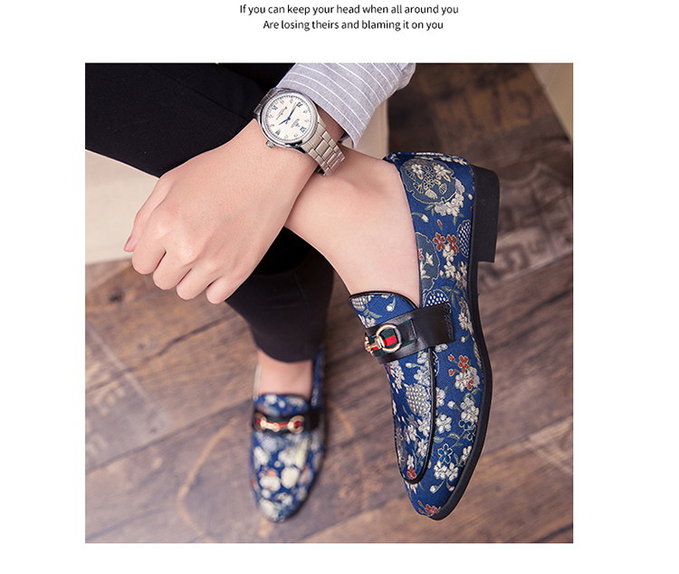 2019 New Brand Formal Shoes Men Leather Shoes Flower Embroidery Slip On Lazy Driving Shoe Office Loafers Mens Canvas Shoes 7