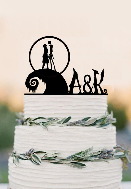 The Nightmare Before Christmas cake topper acrylic wedding cake