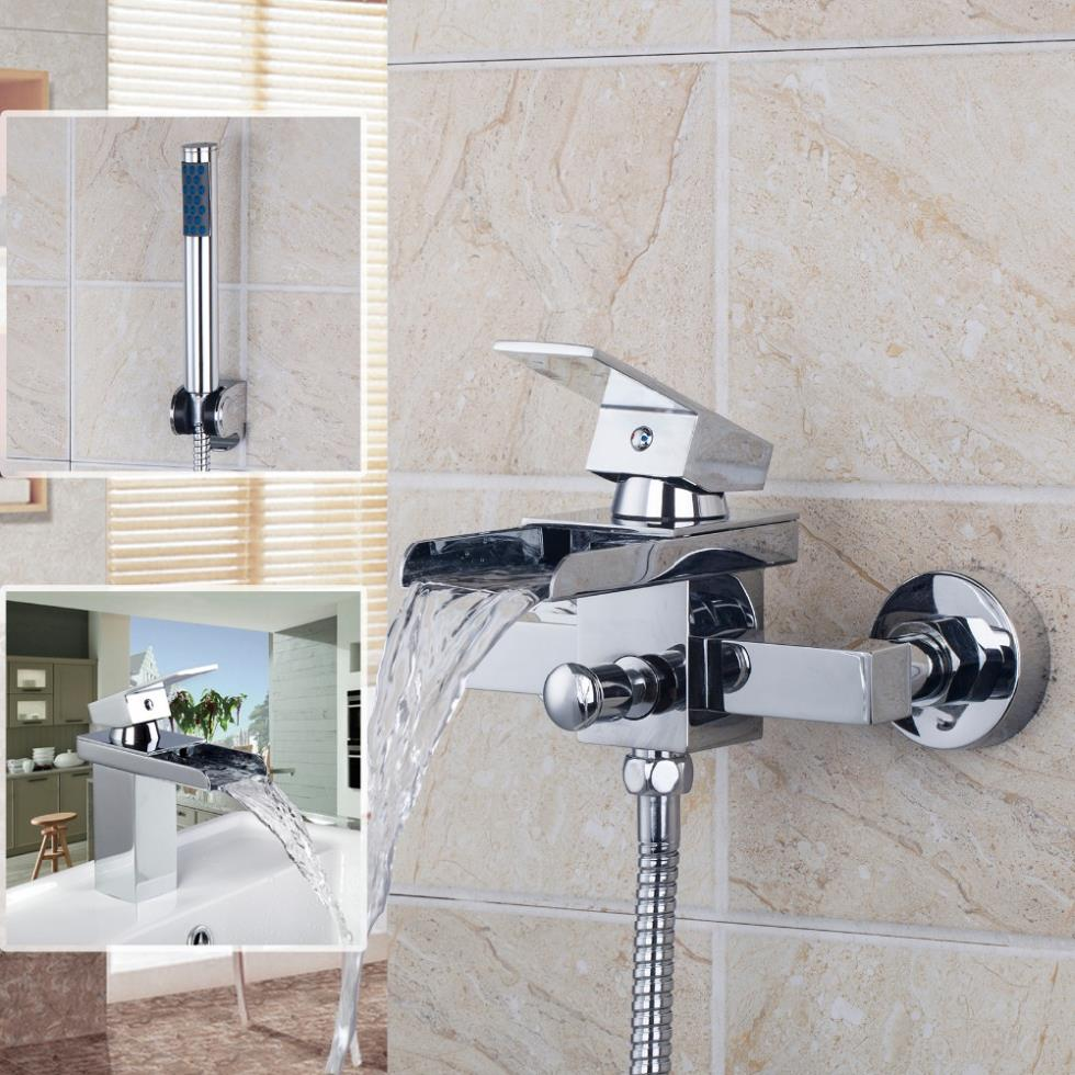 New Modern Chrome Finish Bathtub Brass Waterfall Faucet Tap 82598259-1 Bathroom Basin Sink Faucet,Mixers &Taps free shipping polished chrome finish new wall mounted waterfall bathroom bathtub handheld shower tap mixer faucet yt 5333