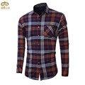 Large Size Plaid Cotton Men Shirt  L~5XL Brand Clothing Thick Velvet Camisa Social Masculina Orange Black Chemise Homme 2017 New