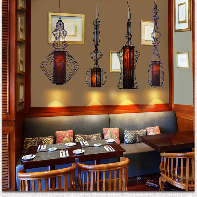 Modern Home Decoration Black White Dining Room Iron Chandelier Bird Cage Coffee Shop Light Bar