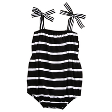 Cotton Newborn Infant Baby Girl Striped Bodysuit Jumpsuit Clothes One-Pieces Outfits