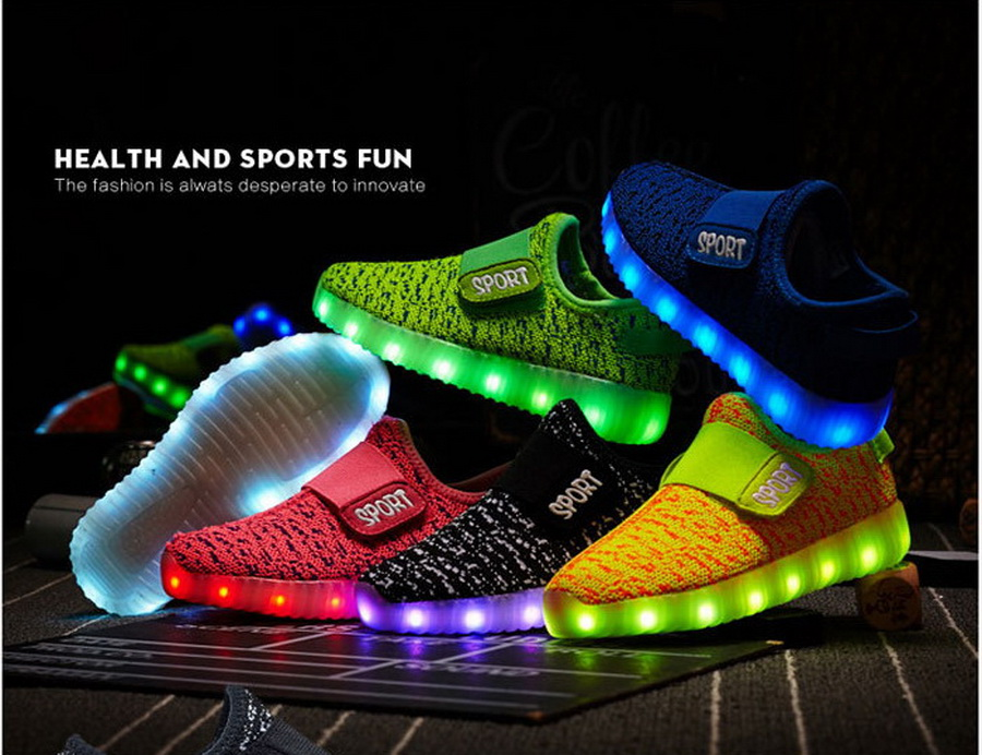 Glowing Shoes Recharge Kids Children's DHL Led USB 25-38 50pair-Size