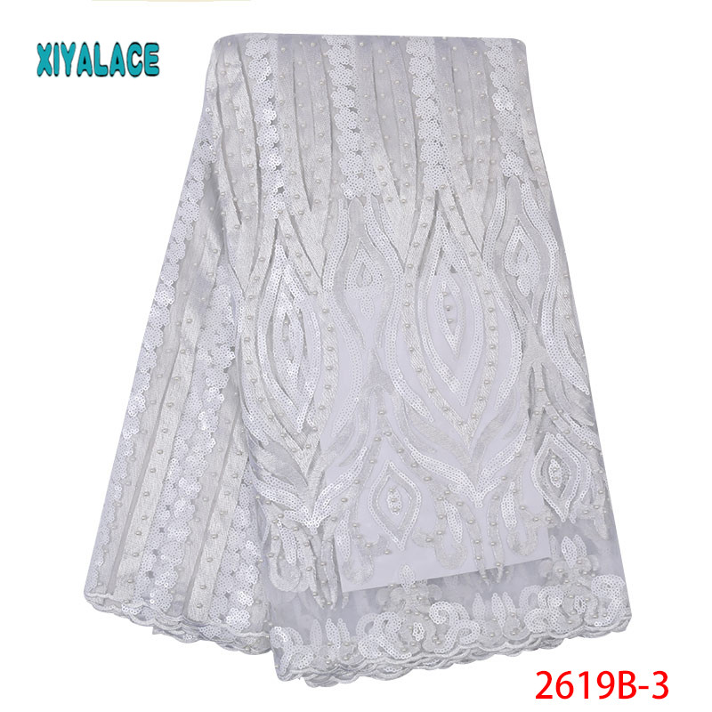 White African Lace Fabric 2019 High Quality Nigerian Lace Fabrics Organza Sequins Embroidery Tulle Lace Fabric Wedding YA2619B-3
