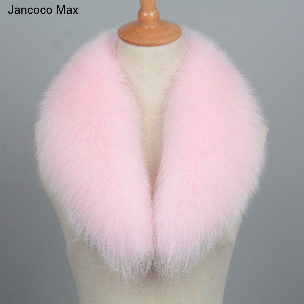 Jancoco Max 2019 nouvelle longue vraie fourrure de renard col écharpe femmes et hommes printemps hiver chaud solide veste manteau châles doublure 75 cm S7102 - 3