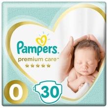 Подгузники Pampers Premium Care Размер 0, 1,5-2,5 кг, 30 штук