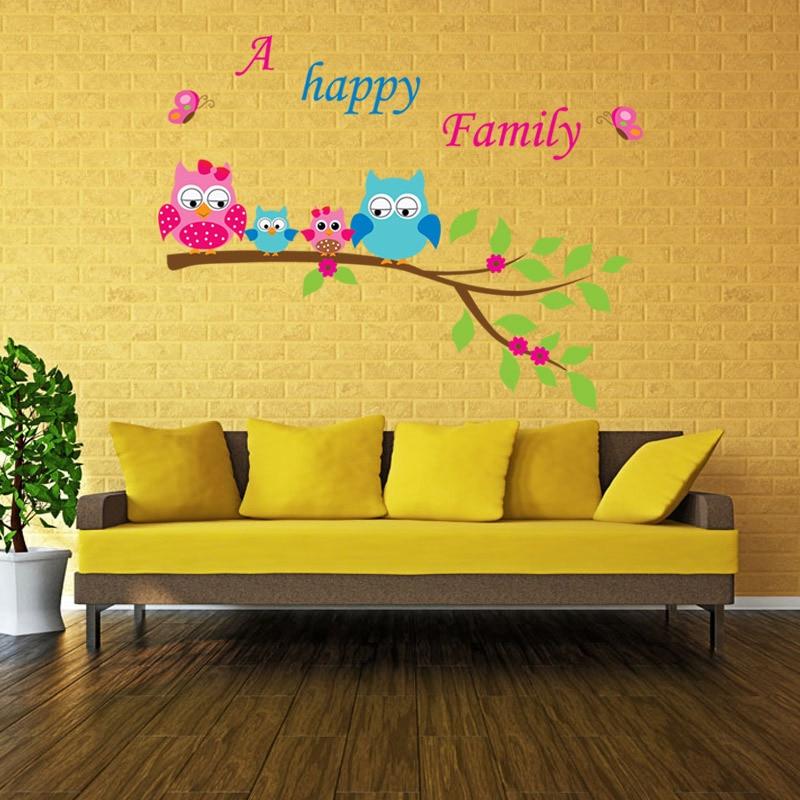 Night Owl Wall Stickers Creative Infantile Wall Art DIY Bird Animal ...