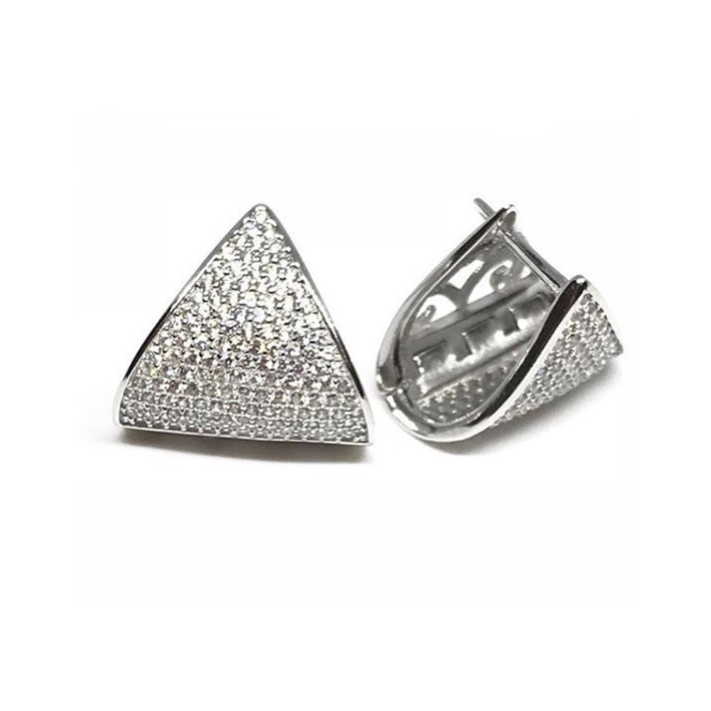 925 Sterling Silver Solid Triangle Geometry Earrings for Women Men Black White Choices Small Hoop Earrings Jewelry brincos in Hoop Earrings from Jewelry Accessories