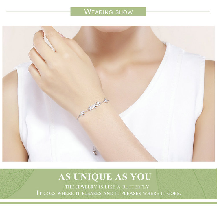 HTB1Hd5yjtcnBKNjSZR0q6AFqFXaW BAMOER Genuine 925 Sterling Silver Luminous Daisy Flower Women Bracelets Clear CZ Fashion Bracelet Jewelry Making Gift SCB084