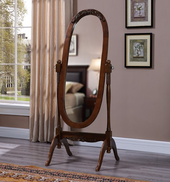 Ms004 Oval Mirror Stand Solidwood Frame With Angle Adjustable