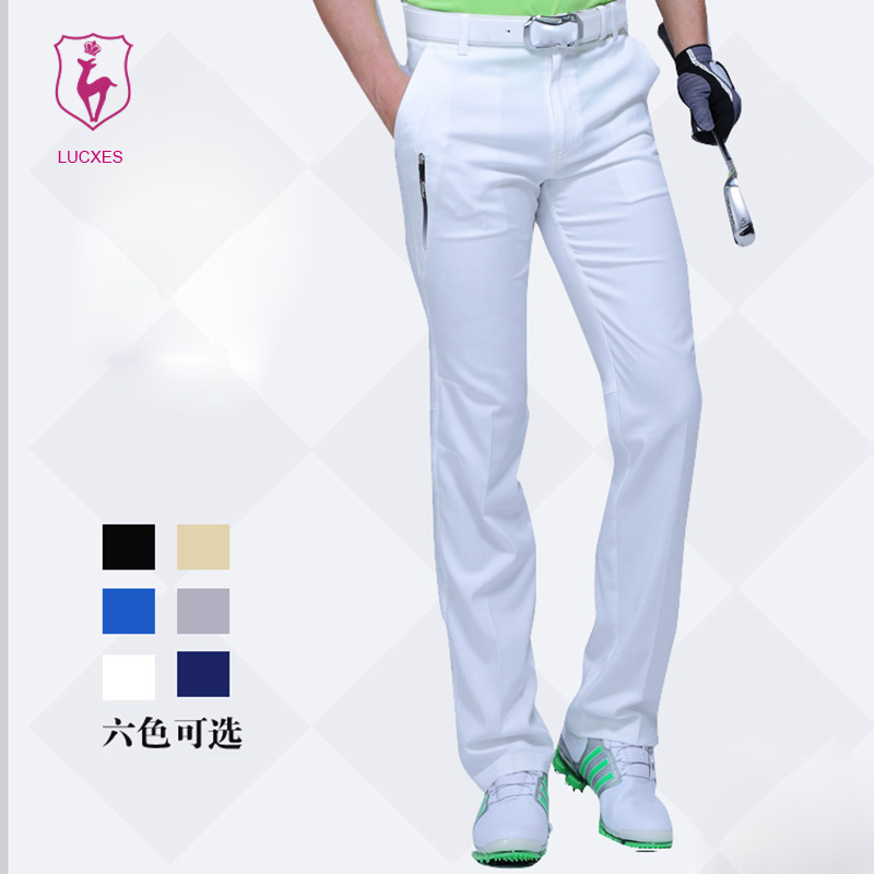 LUCXES new golf pants men clothing straight Elastic ventilated Korean design Polyester quick dry free shipping2500 цена
