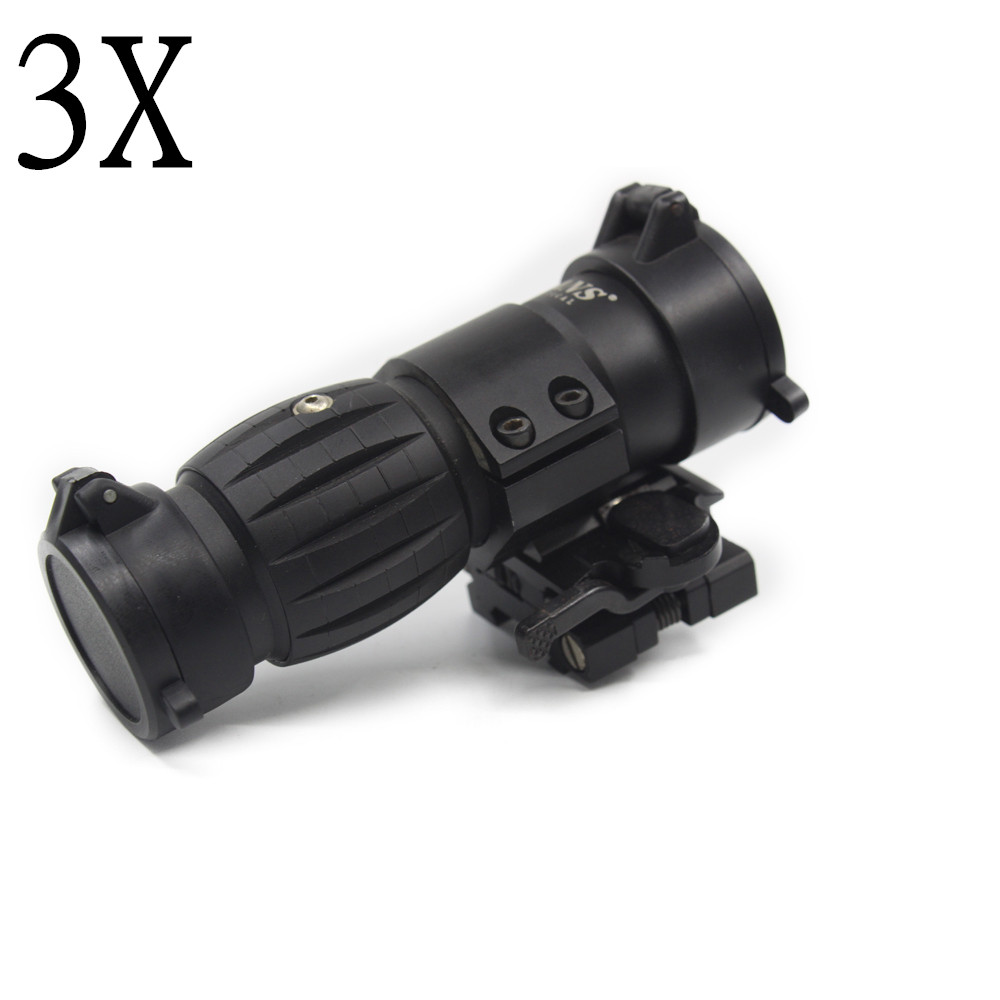 Tactical Red Dot Sight Scope 3x Magnifier Sight Riflescope With Side Flip Picatinny Rail Mount For Outdoor Hunting Handgun