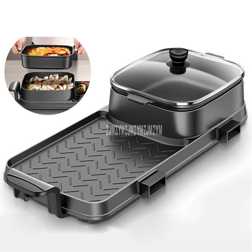 72x25cm 2200W 2in1 Electric Multi Cooker Barbecue Pan Hot Pot Cooker Electric BBQ Griddle Non-Stick Hotpot Roasting Baking Plate