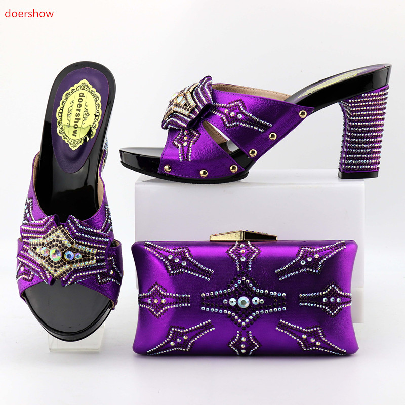 doershow  New Italian Shoes with Matching Bags for Women Nigerian Women Wedding Shoes and Bag Set Italy Shoes and Bag Set OP1-4