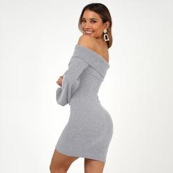 2019 spring women's new cashmere sanding four-color  long-sleeved slim hip dress 5