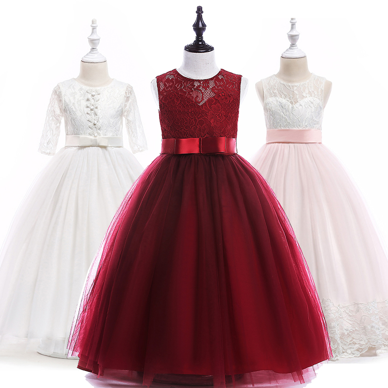 Girl dress long princess party dresses children 8 10 12 14 16 Years kids teens clothing teenagers lace girls wedding dress knee length belted summer party clothing wedding dress kids 4 to 10 11 12 13 14 15 years 2017 child ivory flower girl lace dress