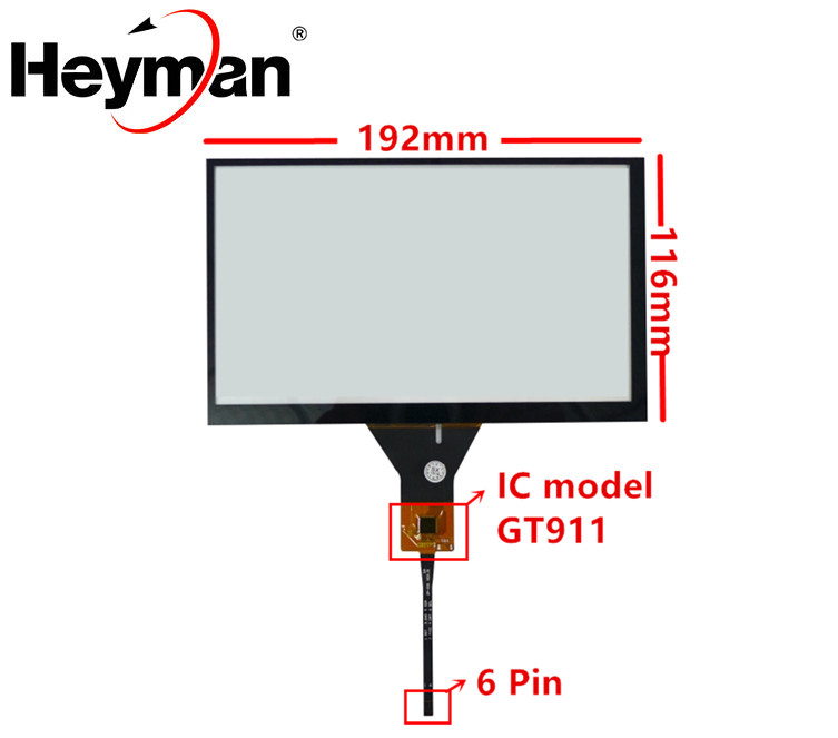 Universal 8 Inch 192mm*116mm GT911 Capacitive Touch Digitizer Car DVD Navigation Touch Screen Panel Glass