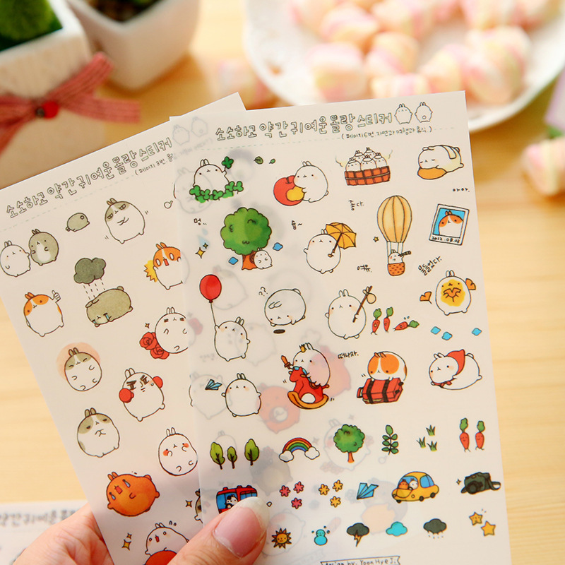 6 Sheet/lot Kids Stickers Toy Diary Creative Cute Cat Rabbit PVC Sticker for DIY Scrapbooking Phone Stickers toys for children charming diy crystal sticker for car cell phone psp camera color assorted 874 piece sheet