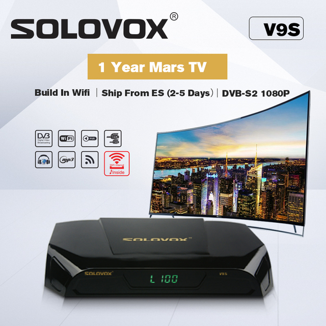 SOLOVOX V9S Support HDMI and AV Satellite Receiver Home Cinema Smart TV Box Build in WIFI Support Mars TV CCCAMD LIVE