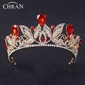 NewWomen Chran Rojo Tiara Rhinestone Austríaco Corona Reina Joyería Pelo de la Venda Nupcial de La Boda Hairwear Pageant Prom Boda De La Vid