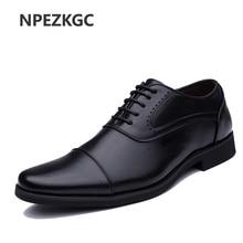 2019 Men Dress Shoes Simple Style Quality Men Oxford Shoes Lace-up Brand Men Formal Shoes Men Leather Wedding Shoes