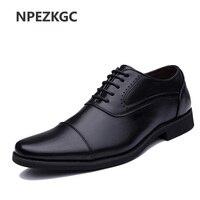 2019 Men Dress Shoes Simple Style Quality Men Oxford Shoes Lace up Brand Men Formal Shoes Men Leather Wedding Shoes