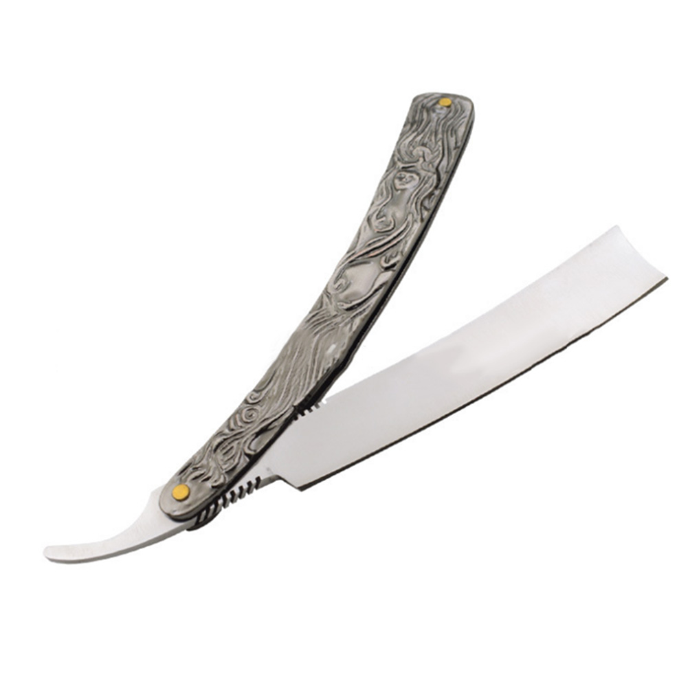 2047 New Barber Men Manual Razor Stainless Steel Straight Edge Cutter Aluminum Handle Folding Shaving Beard Shaver H7JP portable manual 440c stainless steel straight open razor silver