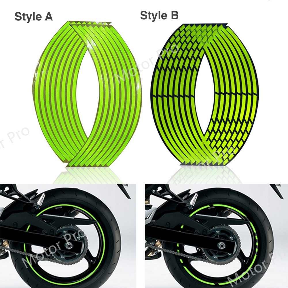 Motorfiets Universele 16 Strips Waterdichte Velg Wiel Accessoires 16/18 Inch Reflecterende Fluorescentie Decals Decoratie Sticker