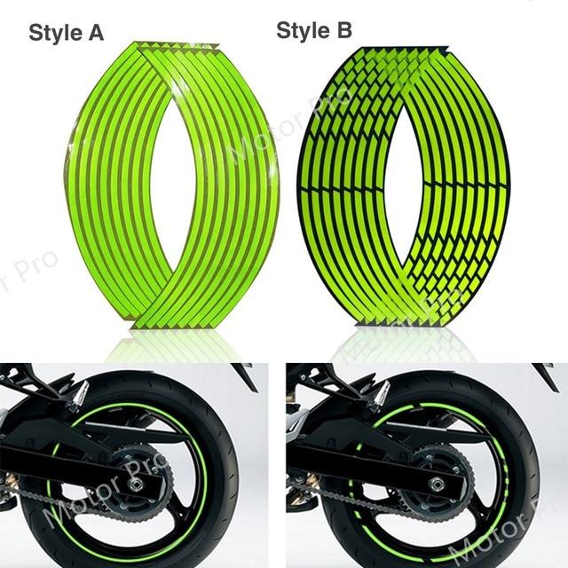 Motorcycle Universal 16 Strips Waterproof Rim Wheel Accessories 16/18 Inches Reflective Fluorescence Decals Decoration Sticker