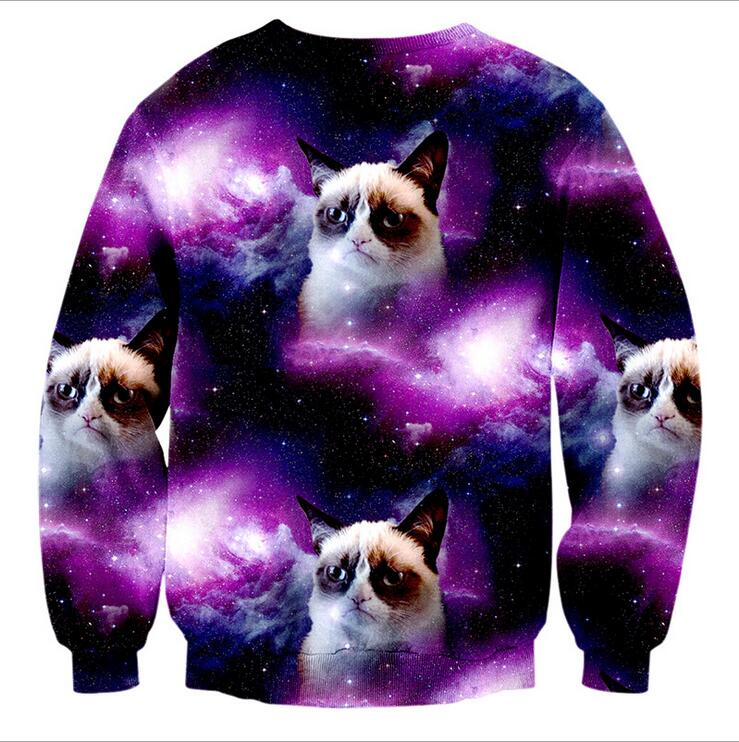 2018 New Arrivals Men Hoodies 3D Starry Sky & Anima Pattern Printed O-Neck 96% Polyester 4% Spandex S to XL Fashion Sweatshirts