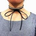 Simples strass cristal velvet ribbon choker colar para mulheres lace up amarrado bowknot jóias colar collier maxi menina do punk