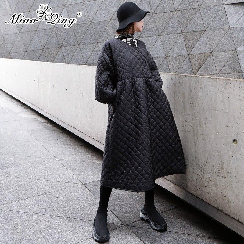 Parka Manches Vêtements Chaud Miaoqing Dentelle Vintage Lanterne Pour Up Manteau Vestes Treillis Hiver 2018 Femmes Plaid Diamant Noir Long w7H7qUt