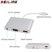 Newest silver aluminium alloy 3 in 1 USB to HDMI VGA+Audio Video Converter Digital AV Adapter For iphone5s 6 6s 7 ipad