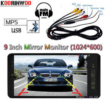 Koorinwoo 9 Inch Car Monitor Mirror TF USB Slot Bluetooth MP5 player For Car radio component Autoradio multimidia Video input